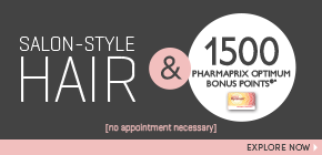 Get 1500 Pharmaprix Optimum Bonus Points®* when you purchase any two (2) participating salon hair care or colour products†– ends August 14th