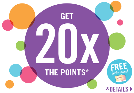 Get 20X the points! Spend $50 and get 20x the Shoppers Optimum Points