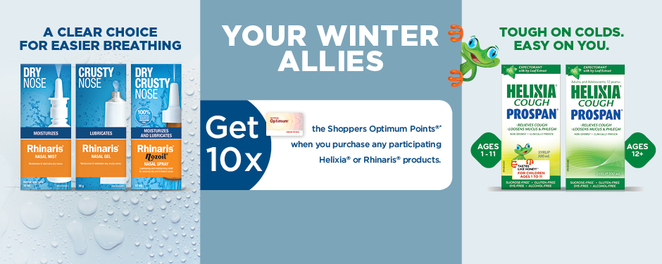 Get 10x Optimum Points when you purchase any participating Helixia® or Rhinaris® products.